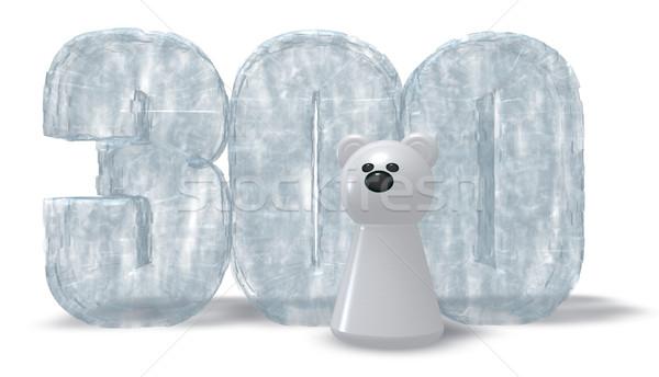 Congelato numero tre cento orso polare 3D Foto d'archivio © drizzd