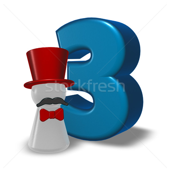 number three and pawn with hat and beard - 3d rendering Stock photo © drizzd