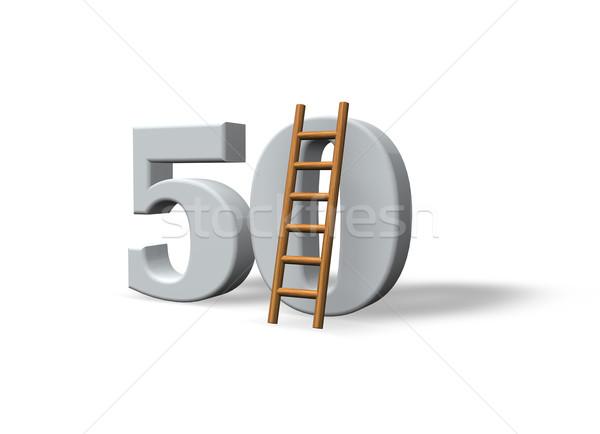 Número cinqüenta 50 escada branco ilustração 3d Foto stock © drizzd