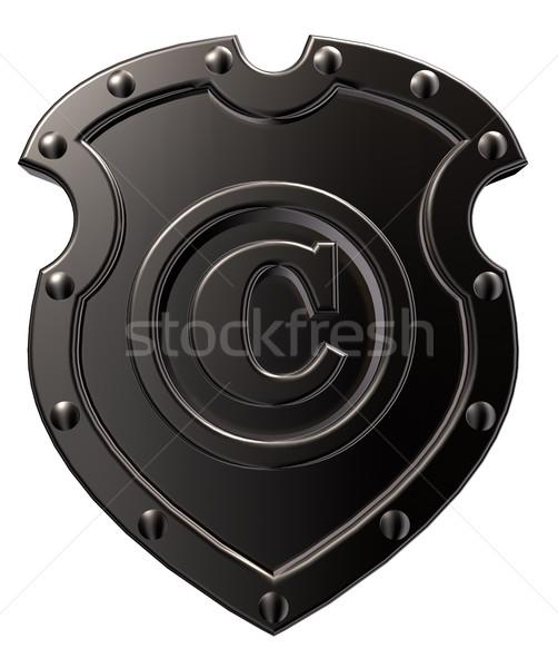 Telif hakkı simge Metal kalkan beyaz 3d illustration Stok fotoğraf © drizzd