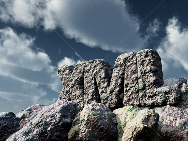 xml rock under cloudy sky - 3d rendering Stock photo © drizzd