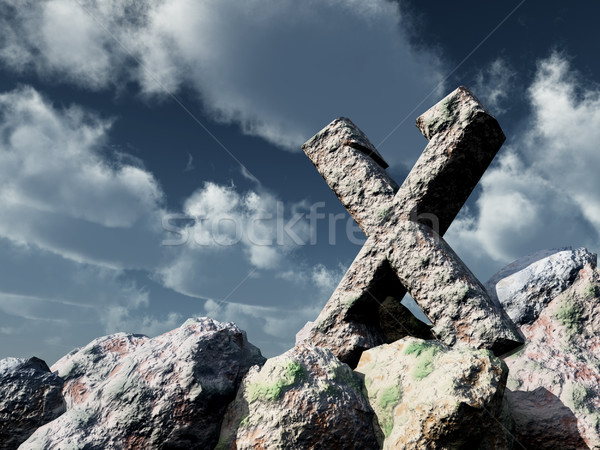 rune rock under cloudy blue sky - 3d illustration Stock photo © drizzd