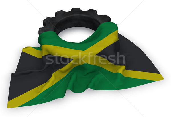gear wheel and flag of jamaica - 3d rendering Stock photo © drizzd