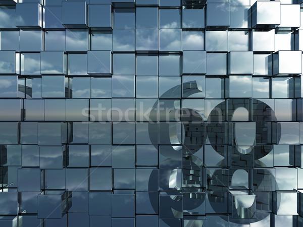 Aantal zestig muur metaal 3d illustration Stockfoto © drizzd