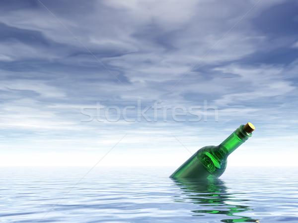 Mensagem garrafa oceano ilustração 3d papel e-mail Foto stock © drizzd