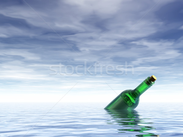 Mesaj şişe okyanus 3d illustration kâğıt posta Stok fotoğraf © drizzd