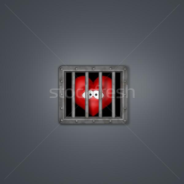 Cuore carcere triste cartoon dietro finestra Foto d'archivio © drizzd