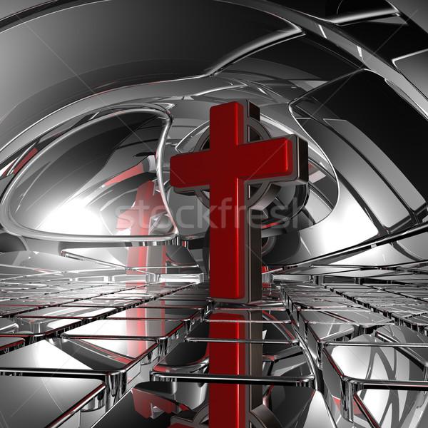 христианской крест аннотация пространстве 3d иллюстрации знак Сток-фото © drizzd