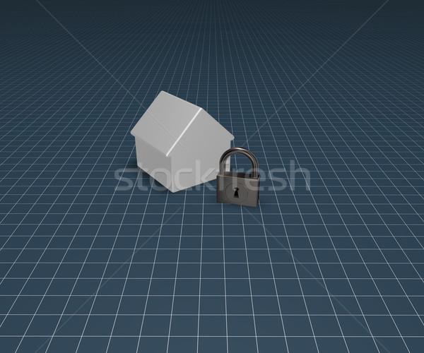 Domu kłódki model 3d ilustracji domu metal Zdjęcia stock © drizzd