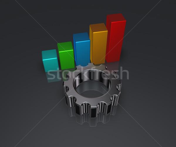 üzleti grafikon fogaskerék viselet kerék fém 3d illusztráció Stock fotó © drizzd