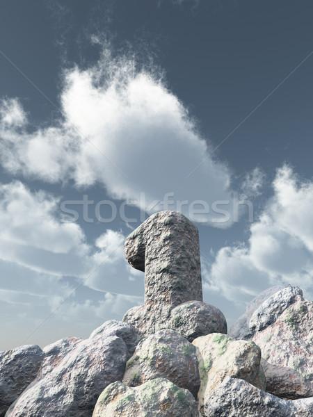 第一 岩 多雲 藍天 3d圖 景觀 商業照片 © drizzd