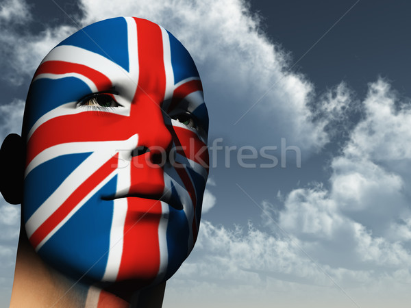 Patriot man gezicht geschilderd union jack 3d illustration Stockfoto © drizzd