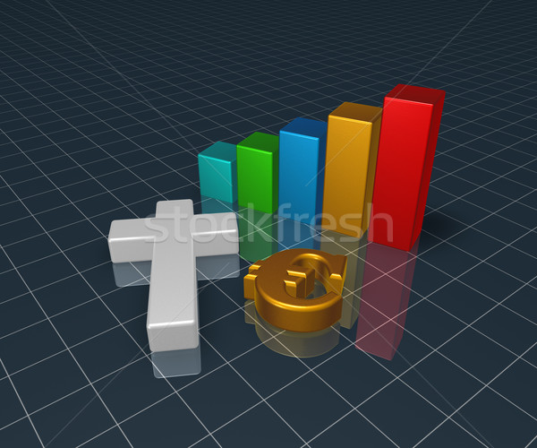 business graph with christian cross and euro symbol - 3d rendering Stock photo © drizzd