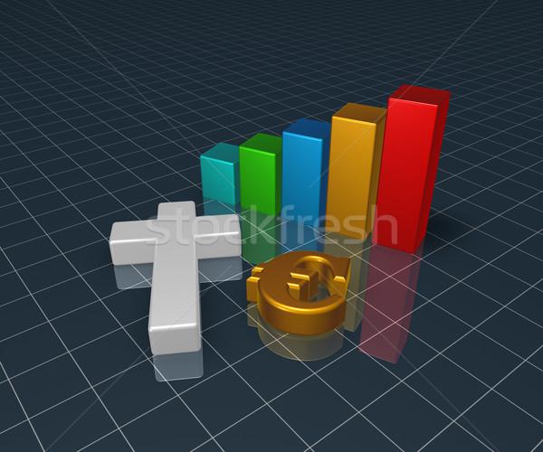 Wykres biznesowych Christian krzyż euro symbol 3D Zdjęcia stock © drizzd