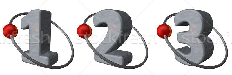 Yörünge kırmızı top uçmak etrafında sayılar Stok fotoğraf © drizzd