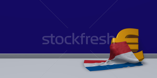 Euro symbool vlag Nederland 3d illustration financieren Stockfoto © drizzd