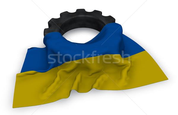 Gear колесо флаг 3D строительство Сток-фото © drizzd