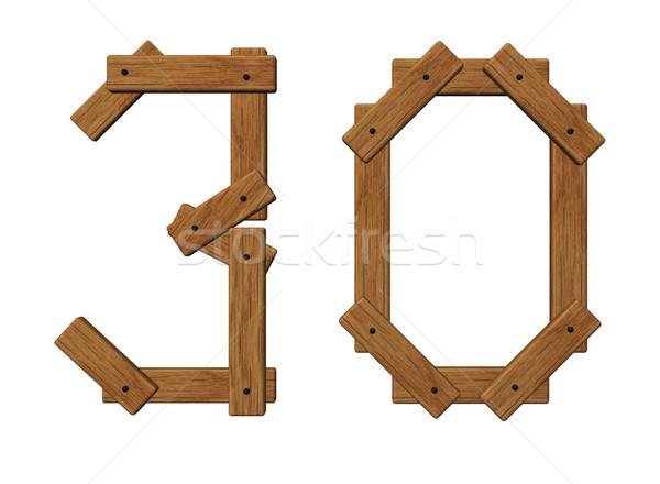 Houten aantal dertig witte 3d illustration hout Stockfoto © drizzd