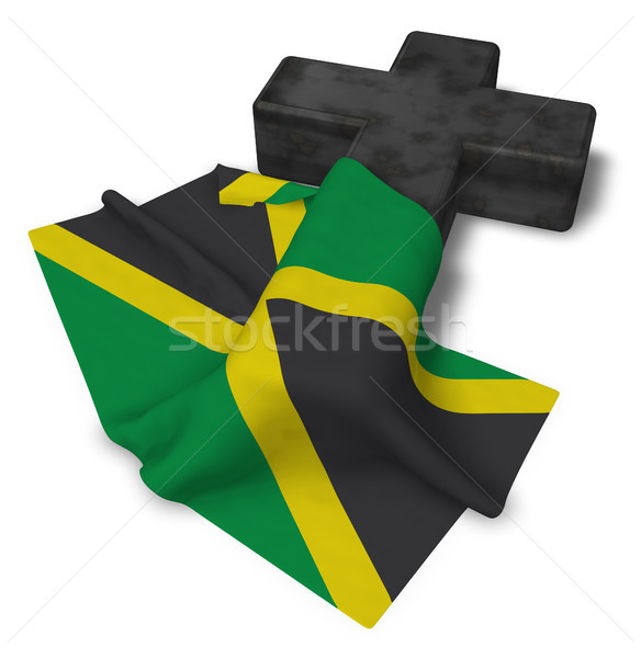 christian cross and flag of jamaica - 3d rendering Stock photo © drizzd