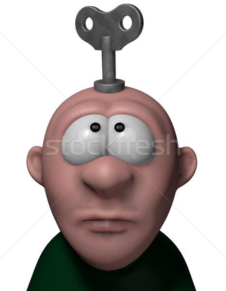 Vento para cima chave cabeça ilustração 3d Foto stock © drizzd