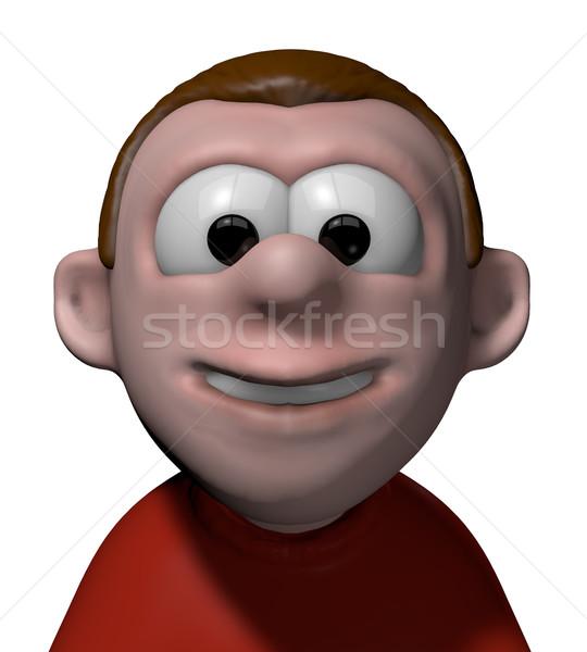 Gülen komik karakter 3D karikatür Stok fotoğraf © drizzd