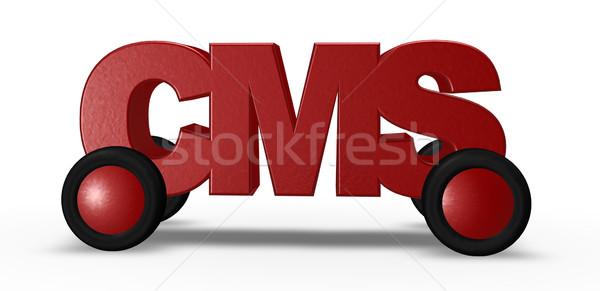 Cms carretera etiqueta ruedas 3d ordenador Foto stock © drizzd