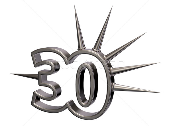 Aantal dertig 3D witte 3d illustration Stockfoto © drizzd