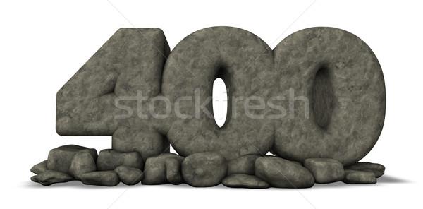 Pedra número quatro cem branco 3D Foto stock © drizzd