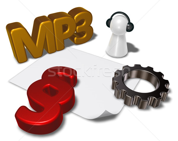 mp3 tag, paragraph symbol and pawn with headphones - 3d rendering Stock photo © drizzd