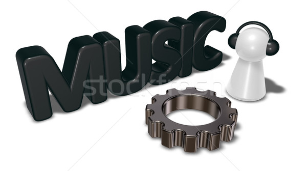music tag, gear wheel and pawn with headphones - 3d rendering Stock photo © drizzd