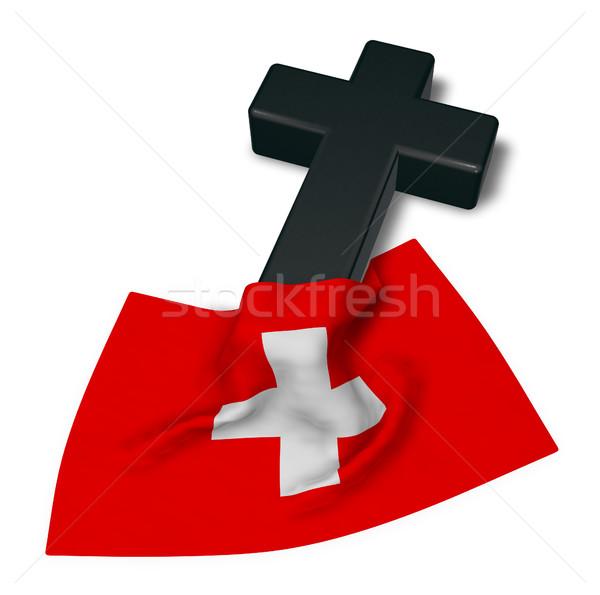 Keresztény kereszt zászló 3D renderelt kép templom Stock fotó © drizzd