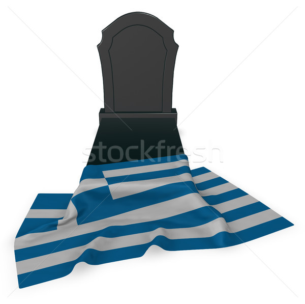gravestone and flag of greece - 3d rendering Stock photo © drizzd