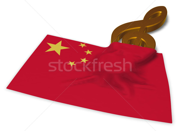 clef symbol symbol and flag of china - 3d rendering Stock photo © drizzd
