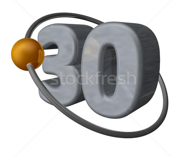Dertig gouden bal vliegen rond aantal Stockfoto © drizzd