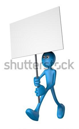 Protesto mavi adam afiş 3d illustration karikatür Stok fotoğraf © drizzd