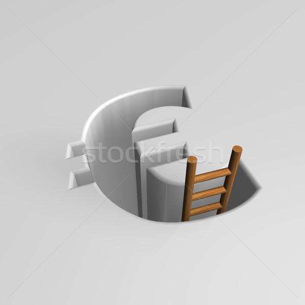 рецессия евро знак лестнице 3d иллюстрации Европа Сток-фото © drizzd