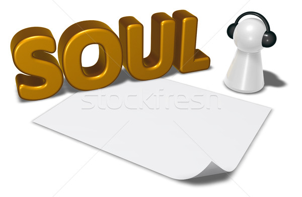 soul tag, blank white paper sheet and pawn with headphones - 3d rendering Stock photo © drizzd