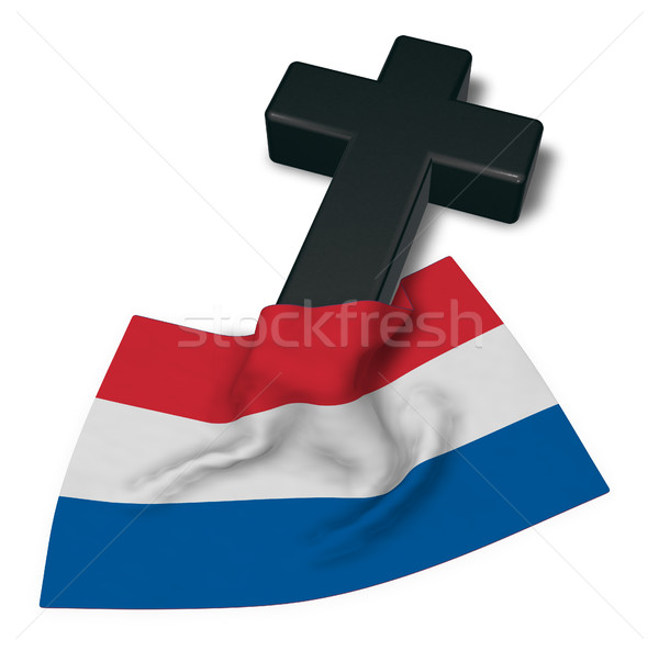 christian cross and flag of the netherlands - 3d rendering Stock photo © drizzd