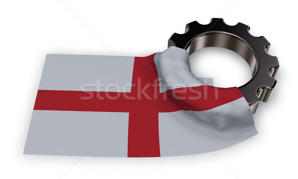 gear wheel and flag of england - 3d rendering Stock photo © drizzd