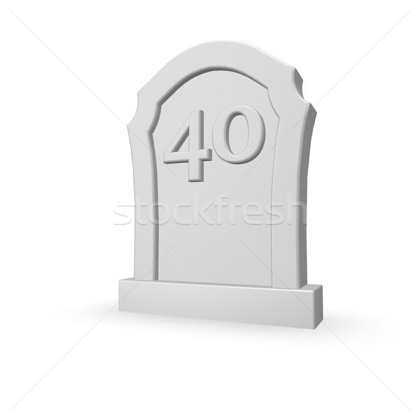 Kırk mezar taşı numara beyaz 3d illustration ölüm Stok fotoğraf © drizzd