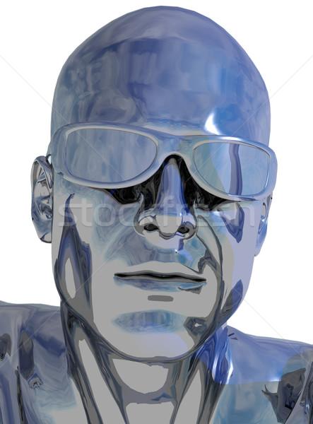 Chrom Kopf menschlichen weiß 3D-Darstellung Gesicht Stock foto © drizzd
