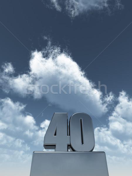 Métal quarante 40 nuageux ciel bleu 3d illustration Photo stock © drizzd