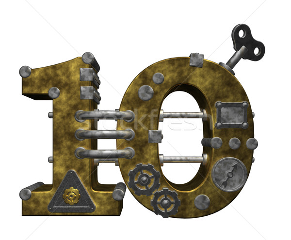 Aantal tien steampunk witte 3d illustration verjaardag Stockfoto © drizzd