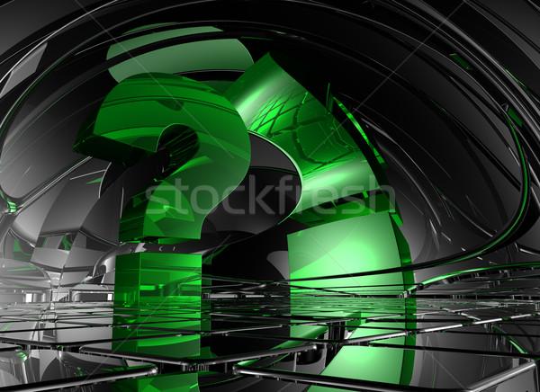 Ponto de interrogação abstrato futurista espaço ilustração 3d comunicação Foto stock © drizzd