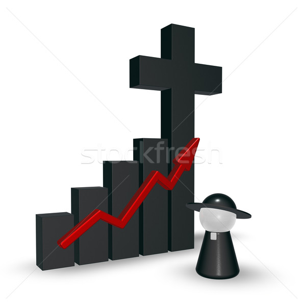 business graph with christian cross - 3d rendering Stock photo © drizzd