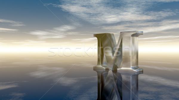 Fém m betű felhős égbolt 3D renderelt kép Stock fotó © drizzd