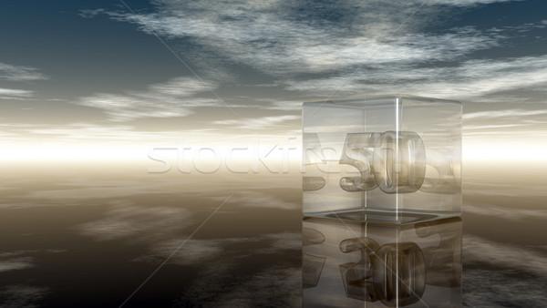 Número cinqüenta vidro cubo nublado céu Foto stock © drizzd