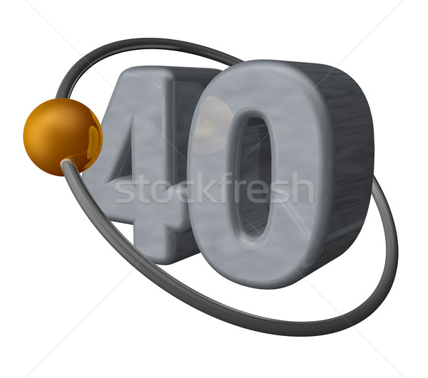 Czterdzieści złoty piłka latać około numer Zdjęcia stock © drizzd