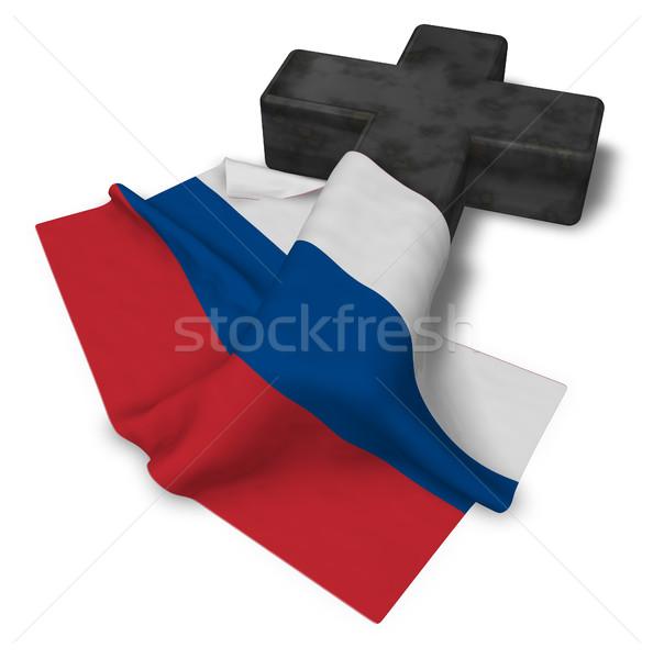 Christian krzyż banderą 3D kościoła Zdjęcia stock © drizzd