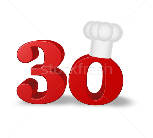 Aantal dertig kok hoed witte 3d illustration Stockfoto © drizzd